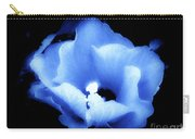 A White Hibiscus Bloom With Blue Tinge On Black Background Carry-all Pouch