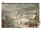 A Winter Landscape With Travellers On A Path Carry-all Pouch