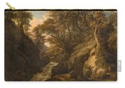 A Wooded Landscape With A Waterfall And A Fisherman Walking Along A Path Carry-all Pouch