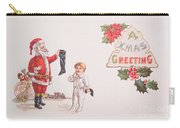 A Xmas Greetings With Santa And Child Vintage Card Carry-all Pouch