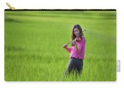 A Young Girl In A Folk Costume Plays A Vivaro In A Green Rice Fi Carry-all Pouch