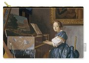 A Young Lady Seated At A Virginal Carry-all Pouch by Jan Vermeer