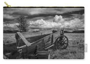 Abandoned Broken Down Frontier Wagon In Black And White Carry-all Pouch