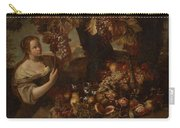 Abraham Brueghel After, Girl With Grapes And Still Life With Fruit. Carry-all Pouch