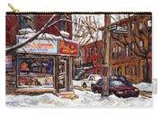 Rue De Pointe St Charles En Hiver Scenes De Rue De Montreal Peinture Originale A Vendre Paul Patates Carry-all Pouch