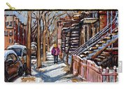 Scenes De Ville De Montreal En Hiver Original Quebec Art For Sale Montreal Street Scene Carry-all Pouch