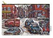 Ville Emard En Peinture Scenes De Ville De Montreal En Hiver Petit Format A Vendre Carry-all Pouch