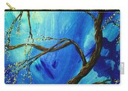 Abstract Art Asian Blossoms Original Landscape Painting Blue Veil By Madart Carry-all Pouch