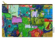 Abstract Flowers On Gold Contemporary Impressionist Palette Knife Oil Painting By Ana Maria Edulescu Carry-all Pouch