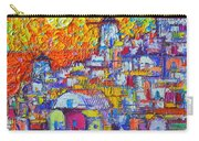 Abstract Santorini Oia Sunset Floral Sky Impressionist Palette Knife Painting  Ana Maria Edulescu Carry-all Pouch