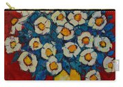 Abstract Wild White Roses Original Oil Painting Carry-all Pouch