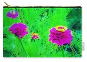 Abstract Zinnias In Green And Pink Carry-all Pouch