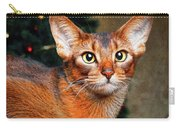 Abyssinian Cat In Christmas Tree Background Carry-all Pouch