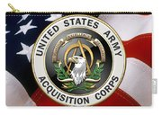 Acquisition Corps - A A C Branch Insignia Over U. S. Flag Carry-all Pouch