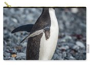Adelie Penguin Squawking On Grey Shingle Beach Carry-all Pouch