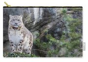 Adult Snow Leopard Standing On Rocky Ledge Carry-all Pouch