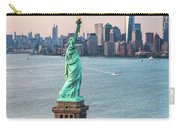 Aerial Of The Statue Of Liberty At Sunset, New York, Usa Carry-all Pouch