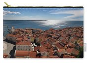 Aerial Panorama Of Piran Slovenia On Adriatic Sea With Marina An Carry-all Pouch