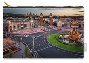 Aerial View On Placa Espanya And Montjuic Hill With National Art Carry-all Pouch