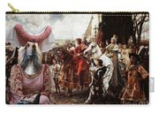 Afghan Hound-the Reverance To The Queen Canvas Fine Art Print Carry-all Pouch