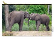 African Elephants Interacting Carry-all Pouch