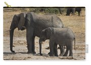 African Elephants Mother And Baby Carry-all Pouch