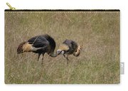 African Grey Crowned  Crane With Chick Carry-all Pouch