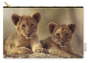 African Lion Cubs Resting On A Rock Carry-all Pouch