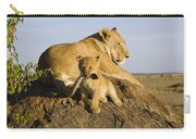 African Lion With Mother's Tail Carry-all Pouch by Suzi Eszterhas