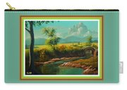 Afternoon By The River With Peaceful Landscape L A S With Decorative Ornate Printed Frame. Carry-all Pouch