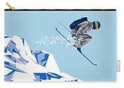 Airborn Skier Flying Down The Ski Slopes Carry-all Pouch
