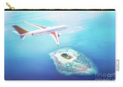 Airplane Flying Over Maldives Islands On Indian Ocean. Travel Carry-all Pouch
