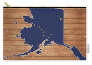 Alaska Map And Flag On Wood Carry-all Pouch