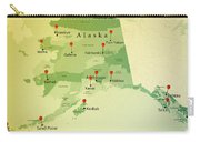 Alaska Map Square Cities Straight Pin Vintage Carry-all Pouch