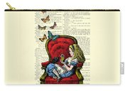 Alice In Wonderland Playing With Cute Cat And Butterflies Carry-all Pouch