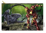 Alien Vs Iron Man Carry-all Pouch by Pete Tapang
