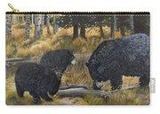 Along An Autumn Path - Black Bear With Cubs Carry-all Pouch