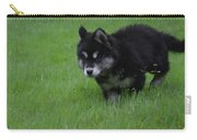 Alusky Puppy Creeping Through Green Grass Carry-all Pouch