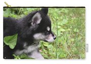Alusky Puppy Tip Toeing Through Green Foliage Carry-all Pouch