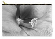 Amaryllis Flower Bloom In Black And White Carry-all Pouch