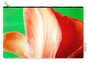 Amaryllis Head Pt Orange Amaryllis Flower On Green Background Carry-all Pouch