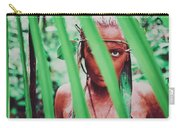 Amazonian Goddess Portrait Of A Wild Looking, Camouflaged Warrior Girl Holding Bow And Arrow Carry-all Pouch