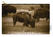 American Bison Grazing - Bw Carry-all Pouch