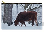 American Devon Grazes In The Snow Carry-all Pouch