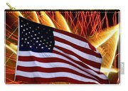 American Flag And Fireworks Carry-all Pouch