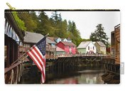 American Flag On Creek Street Ketchikan Alaska Painting Carry-all Pouch