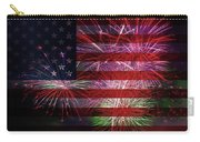 American Flag With Fireworks Display Carry-all Pouch
