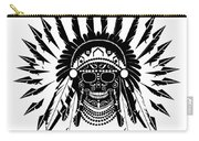 American Indian Skull Icon Background, Black And White  Carry-all Pouch