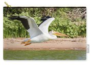 American White Pelican Above The Water Carry-all Pouch