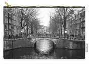 Amsterdam Canal Bridge Black And White Carry-all Pouch